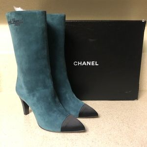 CHANEL Suede Calfskin Short Boot Green 41 / 11